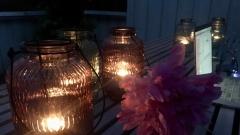 terrace in dark and warm night time